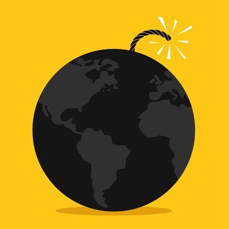 end of the world: Global bomb spark Illustration