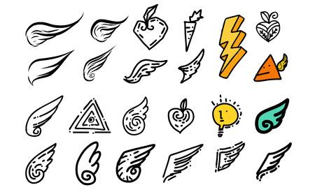 tatouage ange: Doodle Wing