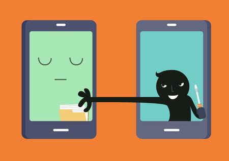 internet crime: Smartphone hacker Illustration