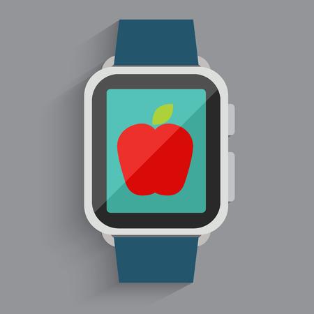 manzana caricatura: Apple en el reloj digital