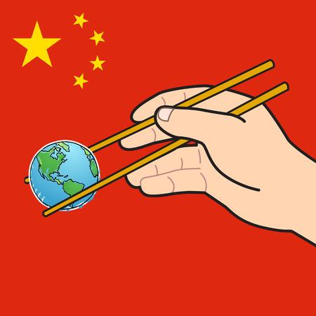 chopstick: Chinese food and world chopstick Illustration