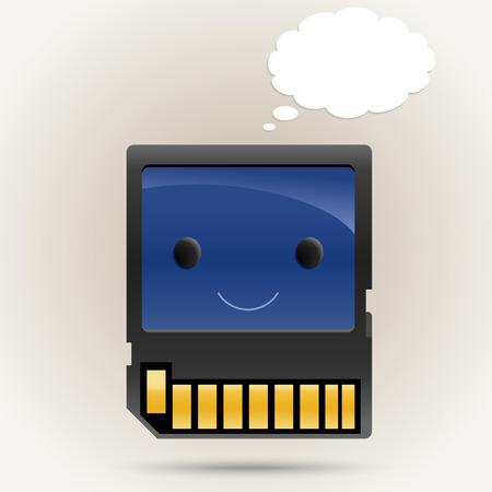 memory card: Memory card cartoon character Illustration