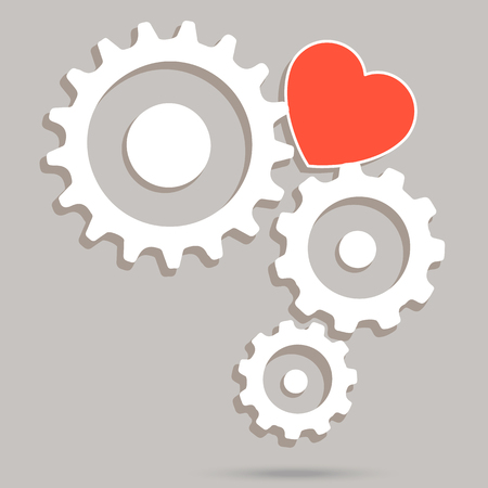 heart gear: Red heart and gear system