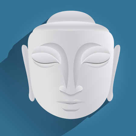 profesar: Estatua de Buda en el fondo azul Vectores