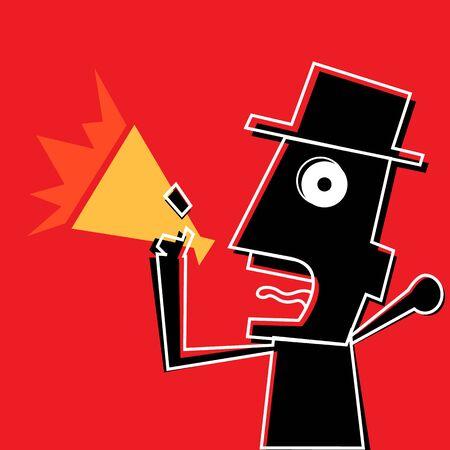 Angry man holding megaphone Illustration