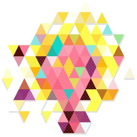 millennium: Sweet color object triangles in dot pattern Illustration