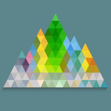 navy blue background: Colorful pyramid from triangles on navy blue background