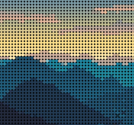 mountain view: Abstract mountain view form dot pattern background