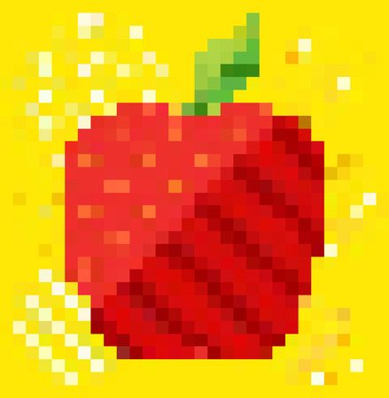 millennium: Abstract fruit in colorful rectangles pattern background Illustration