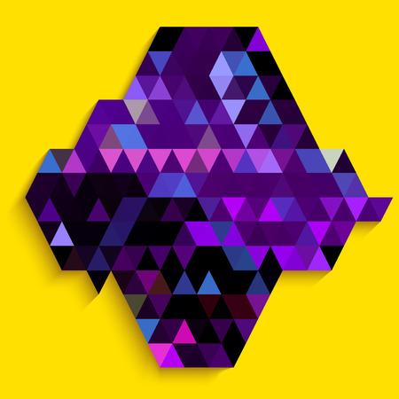 millennium: Abstract purple diamond shape on yellow background