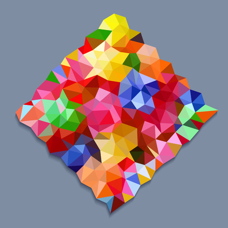 millennium: Rainbow color triangles in square shape on gray background