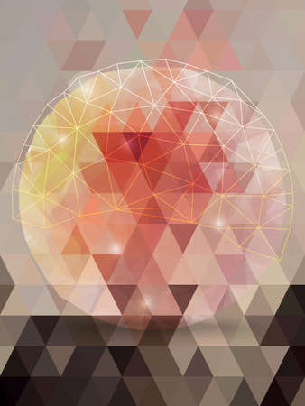 millennium: Abstract pink triangles and circle network sparkle background