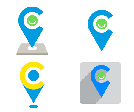 Set of blue and yellow Location sign