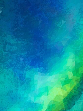 grudge: Abstract green and blue triangles with grudge texture Illustration