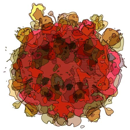 tangle: Abstract red flower from tangle line background Illustration