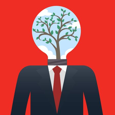 take  care: Businessman with Tree bulb