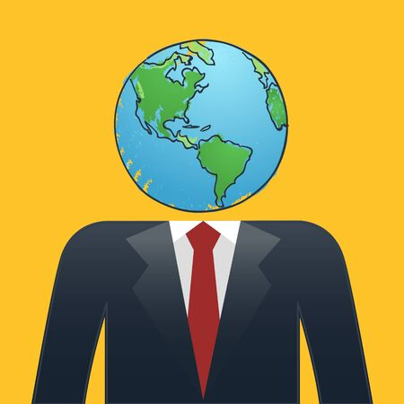 mad: Businessman with earth map head Illustration