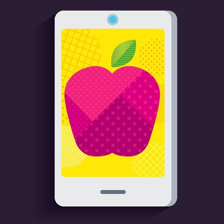 computer art: Graphic pink apple in smartphone Illustration