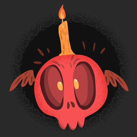 scare: Red scare skull with candle Illustration
