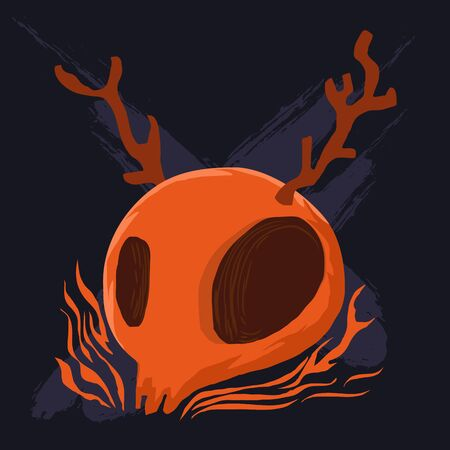 cranium: Orange cranium and antler