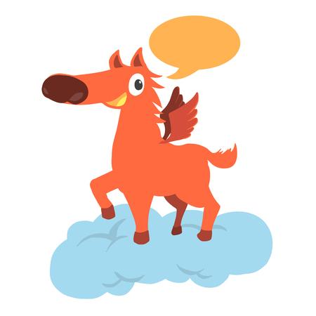 plunge: Cartoon unicorn talking Illustration