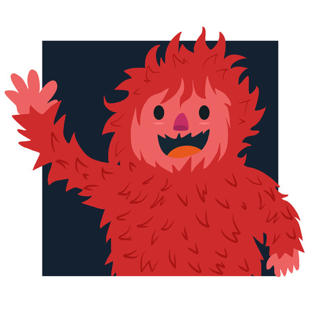 yeti: Red yeti say hello Illustration