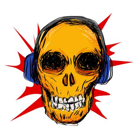 earphone: Hip skull with earphone