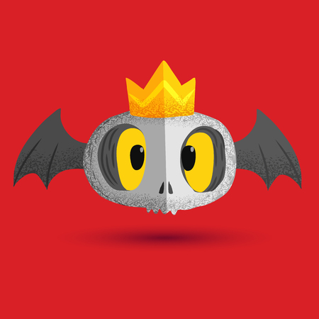 skull with crown: Cute skull bat and his crown