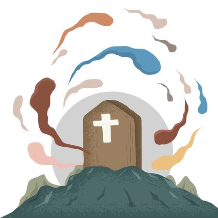 Spirit in tomb Illustration