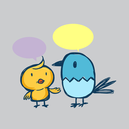 said: Bird and chicken are friend Illustration