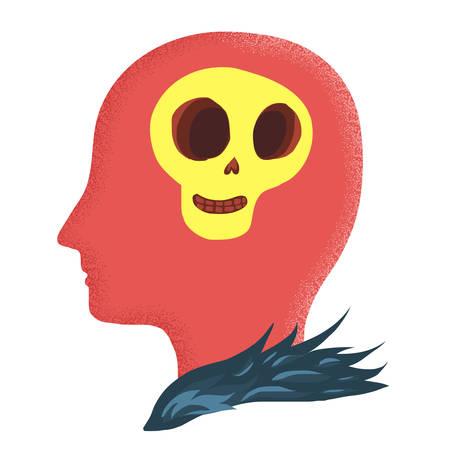 heart failure: Skull in red head Illustration