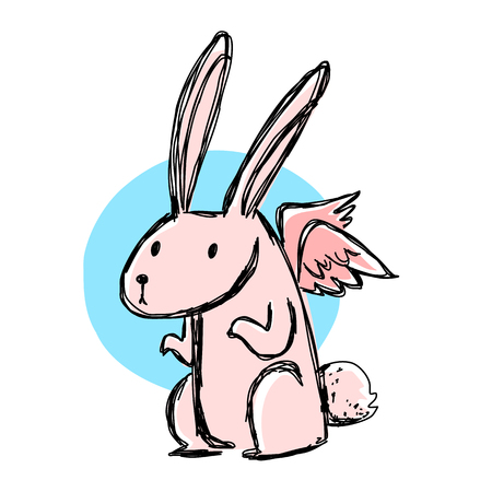 elysium: Pink rabbit with little wing