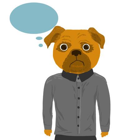 peculiar: Human body and dog head