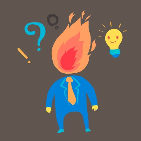 angry businessman: Angry Businessman with light bulb Illustration