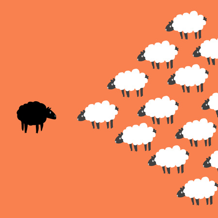 correlate: Black and white sheep on orange screen Illustration