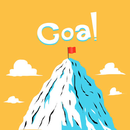 ice mountain: Red flag on the ice mountain Illustration