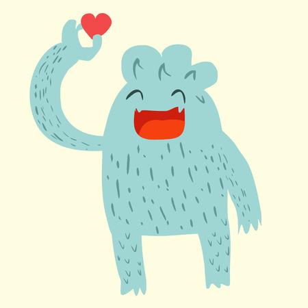 yeti: Blue yeti with red heart