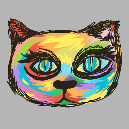 Colorful painting cat head