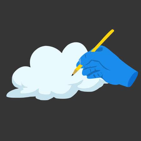 hand writing: Blue hand writing cloud