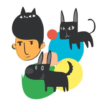 Man and his pets cartoon doodle