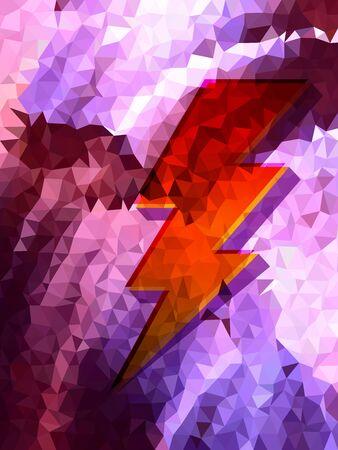 Purple triangle pattern and red thunder Çizim