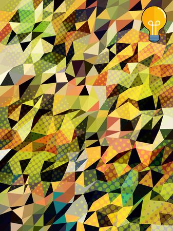 Green and yellow triangles with screen dot and yellow bulb