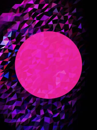 Abstract pink moon on black and pink triangles Çizim