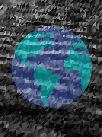 Blue earth and black triangle pattern
