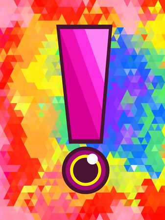 Exclamation and color eye on colorful triangle pattern