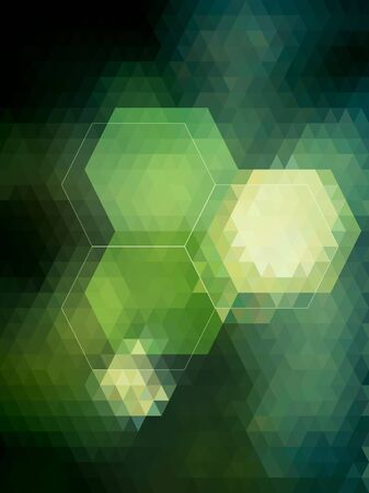 Bright hexagon on green triangle pattern