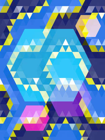 Blue hexagon on violet and yellow triangle pattern