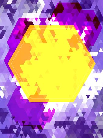 Yellow hexagon on violet triangle pattern Иллюстрация
