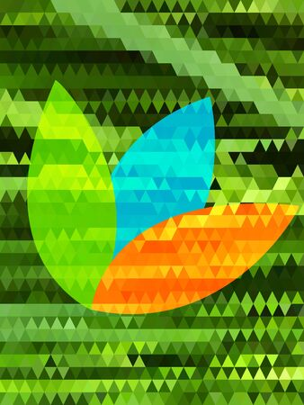 Colorful leaf on green triangle pattern