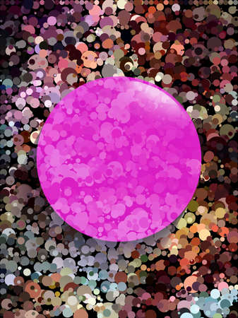 Pink circle on earth tone circle pattern